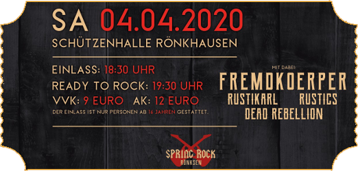 "Ticket ""Spring Rock Rönksen 2020"""